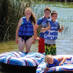 Anna Kaine and Kade with Scarlett at Lake June 2020
