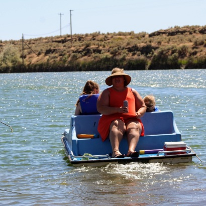 Kendel Scarlett and Anna on paddle boat June 2020