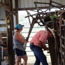 Kellie and Ben working the chute Aug 2020